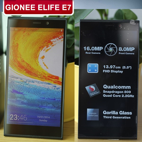 GIONEE ELIFE E7 5.5 inch FHD LTPS Corning Gorilla Glass 3 3GB RAM 16.0MP Snapdragon800 Quad Core 2.2GHz Android 4.2 32GB OTG NFC(China (Mainland))
