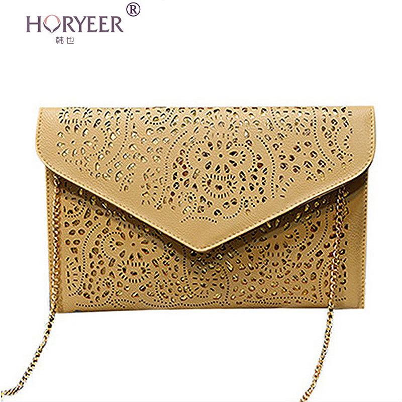 HORYEER bolsa feminina Hollow chains envelope bag pu candy color day clutch women's messenger bags Neon color bag sac femme(China (Mainland))