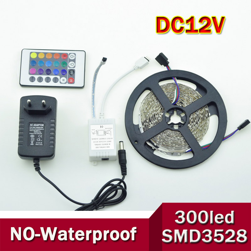 5M SMD 3528 300Leds RGB LED Strips and 24 Key IR Remote Control and 12V 2A Power Supply Warm white Yellow 30Leds/m(China (Mainland))