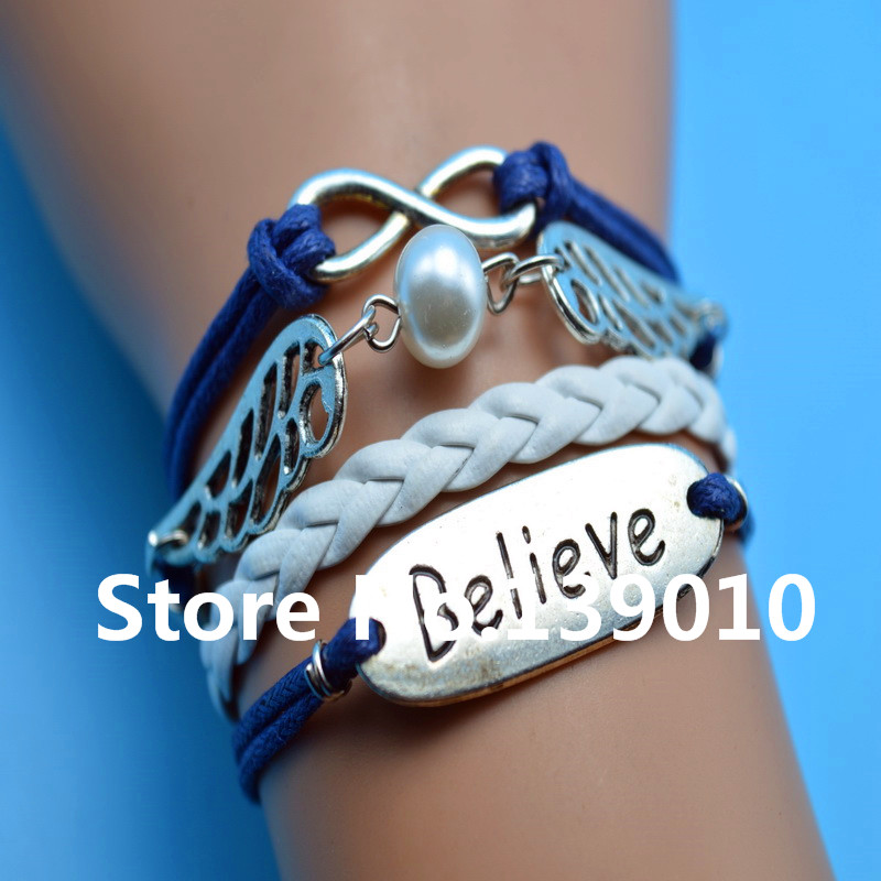 White Navy Leather Rope Wing Bead Believe Infinity Friendship Bracelets Bangles Fashion Women Men Jewelry For Any Occasion Dress(China (Mainland))