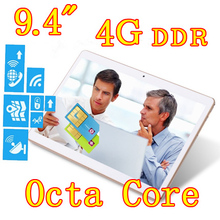 9.4 inch 8 core Octa Cores 1280X800 IPS DDR3 4GB ram 16GB 8.0MP 3G Dual sim card Wcdma+GSM Tablet PC Tablets PCS Android4.4 7 9