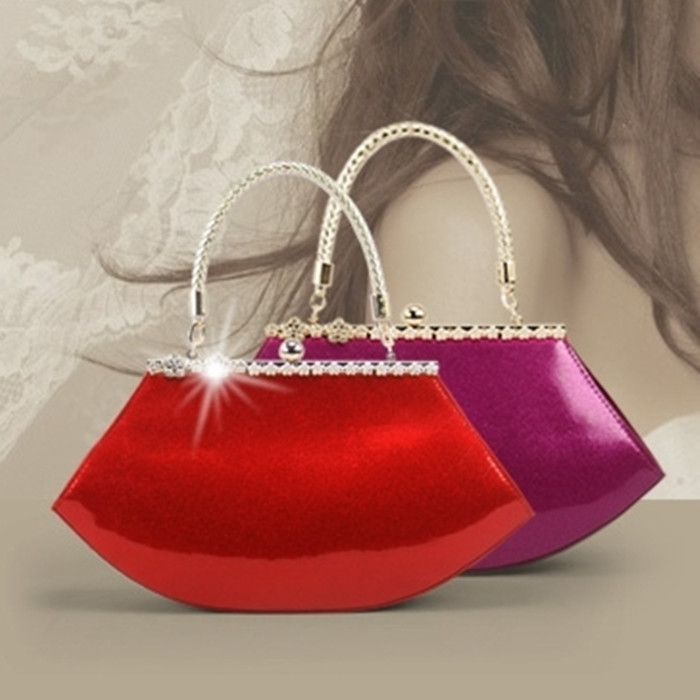 2015 Fashion Red Bridal Women's Evening Bag Crystal Solid Wedding Party Evening Bag High Quality PU Handbag(China (Mainland))