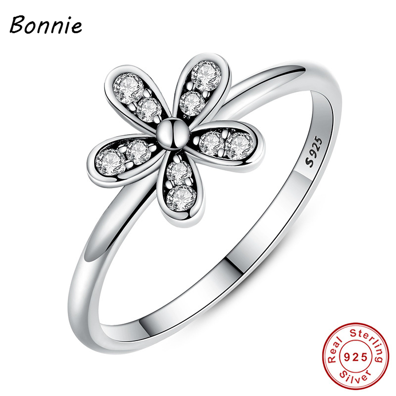 Flower Elegant 100% Original 925 Sterling Silver Dazzling Daisy Flower Ring Clear CZ Compatible Pandora Jewelry Bague Gioielli(China (Mainland))