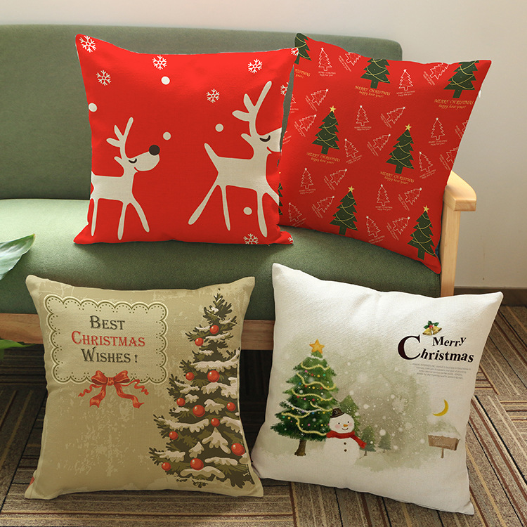2016 Christmas Gifts Cushion Without Core Custom Cotton Linen Decorative Pillows Sofa Chair Cushions Home Decor 45*45cm(China (Mainland))