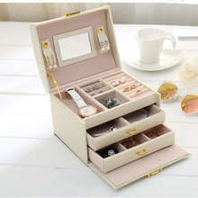 Portable Travel Jewelry Box Organizer Case Ring Earring Necklace Mirror Cortical white(China (Mainland))