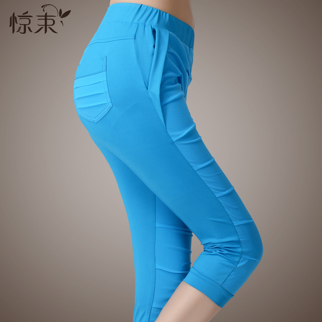 Summer slim elastic pleated plus size casual capris pants candy color silk knitted legging pants