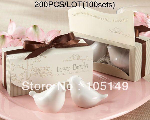 Wedding Gift set Lovebirds salt and pepper shaker wedding favors 200pcs/lot(100sets) Express Free Shipping Wholesale