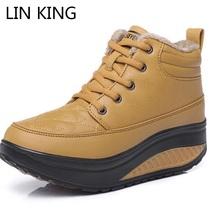 LIN REY Nuevo Invierno de Las Mujeres Zapatos de Tacón de Cuña Elevados en forma de bota zapatos de Moda Casual Zapatos de Plataforma de Oscilación Caliente Tobillo de La Manera Botas para la nieve(China (Mainland))