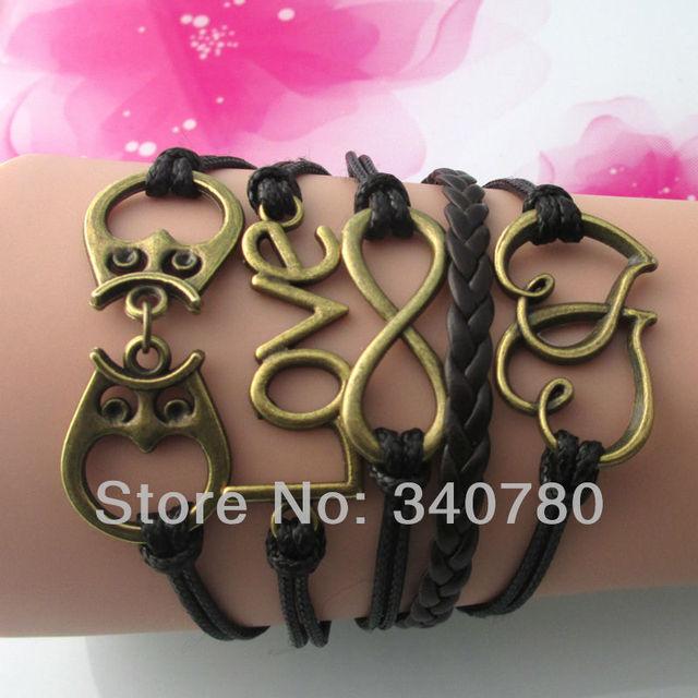Leather bracelets diy letter love,owls dcrv handcuffs ,heart to heart charms preparation bracelet brown cords bracelet FB106