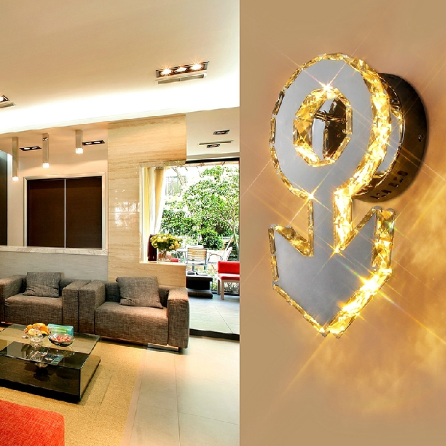 LED crystal Wall stainless steel wall lamp modern minimalist living room lamp bedroom bedside lamp creative wall lamp(China (Mainland))