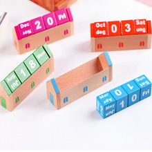 New DIY Cute Kawaii Wooden Perpetual Table Calendar Novelty Items for Kids School Office Supplies Free Shipping 2001(China (Mainland))