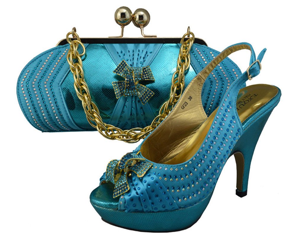 Elegant Ladies Shoes And Bags To Match Set High Quality Rhinestones Decoration Italian Design ...