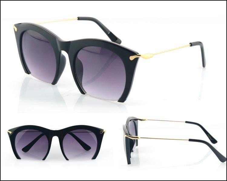 Brand half rim Sunglasses CAT EYE Sun shades lenses Half frame goggles Women Tinted Sun wear