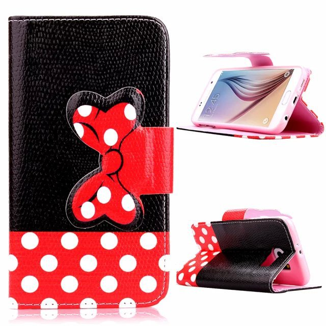 Good Quality A++ Cute Minnie Bowknot Stand PU Leather Phone Wallet Cover Case Samsung Galaxy S6 - Made In China Centre store