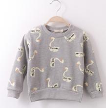 Kids Boys Sweatshirt Girls Hoodies Sweatshirt Cotton Sweatshirts Goose Print Pullover O-neck Long Sleeve(China (Mainland))