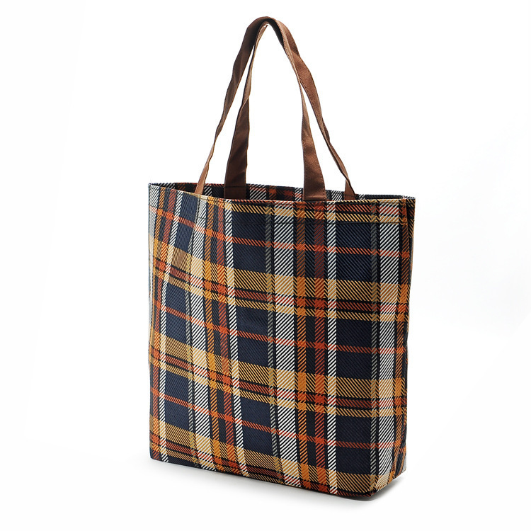 New Plaid Fashion Reusable Shopping Bag Lightweight And Durable Foldable Shopping Bags 38*32*11Cm(China (Mainland))