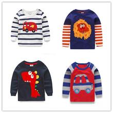 1-6Y nouveaux garçons t - shirt pour enfants t-shirts bébé garçon marque t-shirts enfants Tees à manches longues 100% coton voitures Fireman Top qualité livraison(China (Mainland))