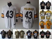 A+++ all stitched ,Pittsburgh Steelers signature #43 Troy Polamalu(China (Mainland))