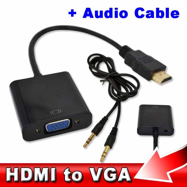 AK HDMI to VGA + Audio Cable Male To Female Built-in Chipset 1080p Video Converter For Xbox 360 PS3 Android TV Box Media Player(China (Mainland))