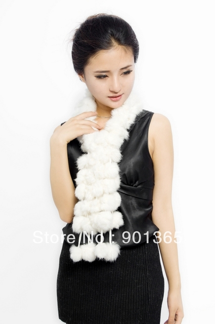 Women's Fur Scarves 100% Fur Ball velvet Rabbit Long style Woman Winter 2012 white Scarves