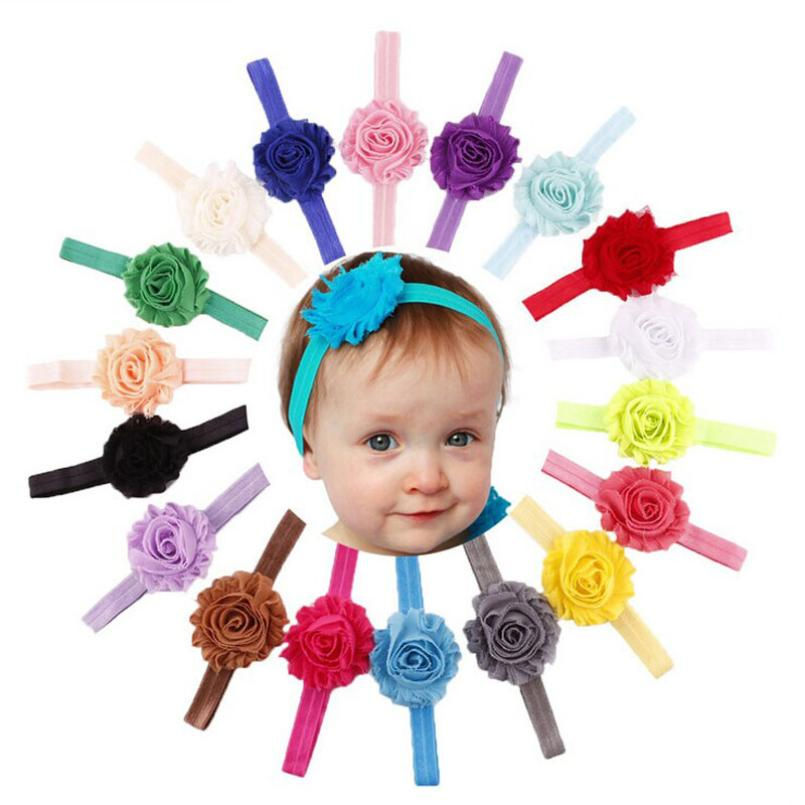 18 Pcs Baby Turban Headband Girl Baby Accessories Ribbon Flower Headband Baby Fita De Cetim Flores #2989