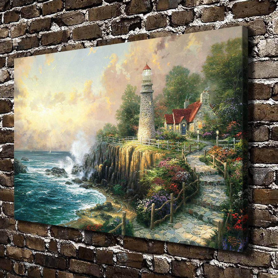H1071 Thomas Kinkade The Light O Peace Scenery, HD Canvas Print Home decoration Living Room Bedroom Wall pictures Art painting(China (Mainland))