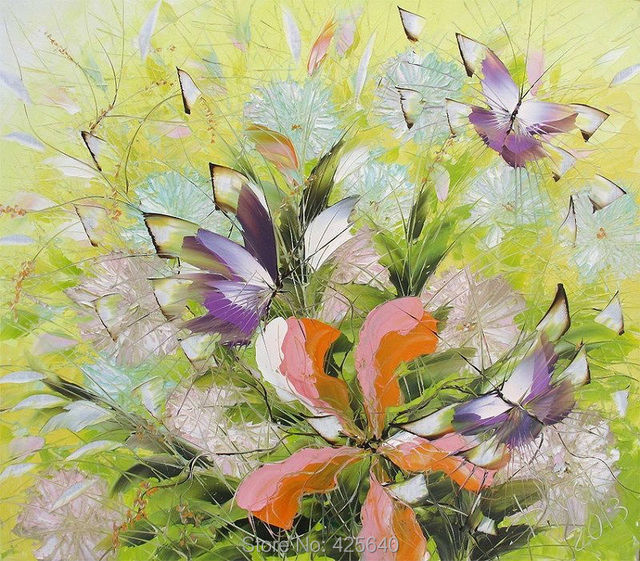 Butterfly with flower painting palette knife painting art painting ...