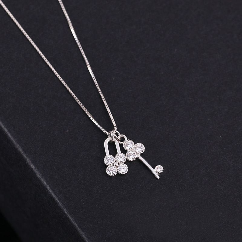 New 925 Sterling Silver Lock Key Necklaces For Women Statement Necklace Fashion sterling-silver-jewelry bijoux(China (Mainland))