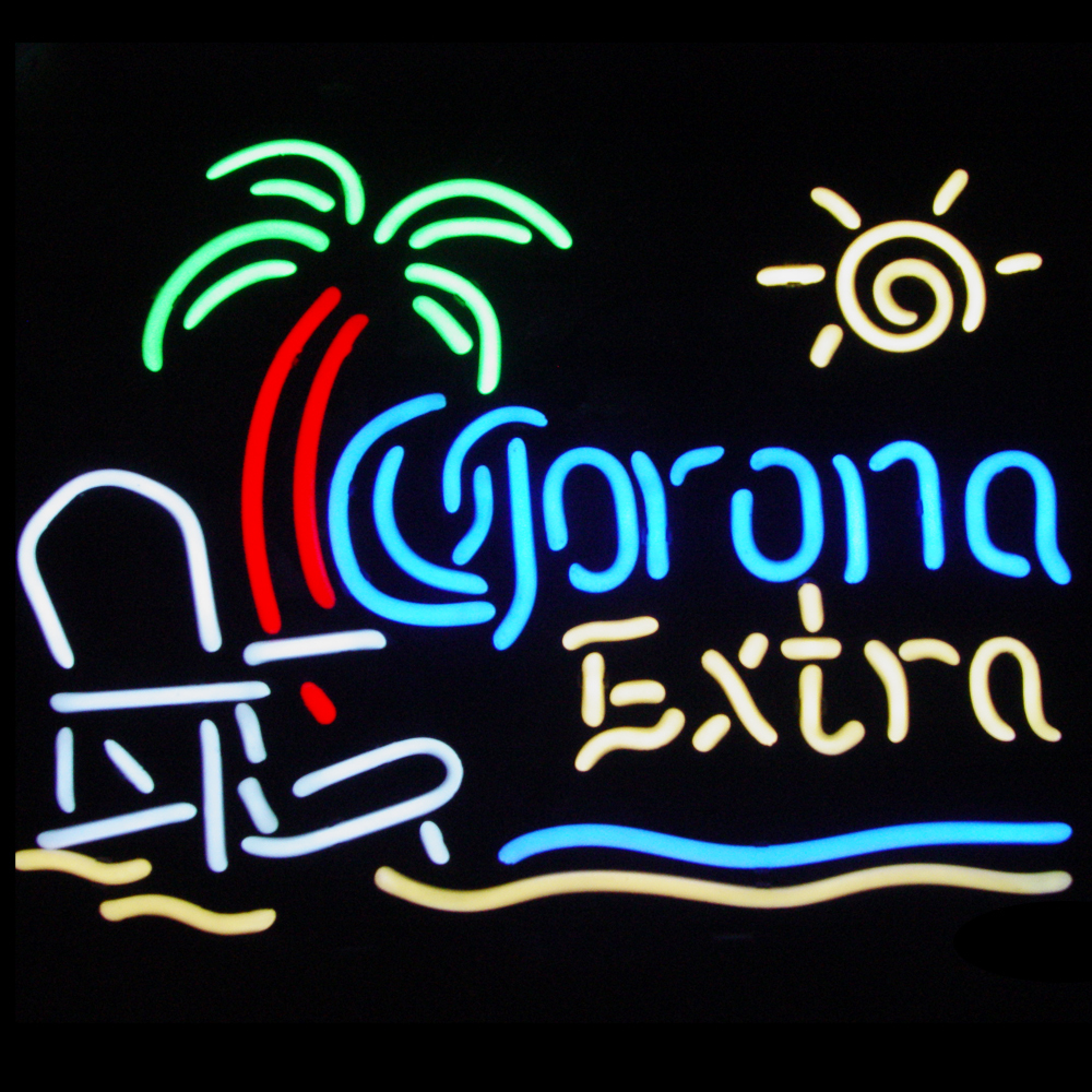 FS Neon Sign!Super Bright!! Corona Extra Beach Chair Palm Tree Handcrafted Neon Light Sign Beerbar Sign Neon Beer Sign 19x15(China (Mainland))