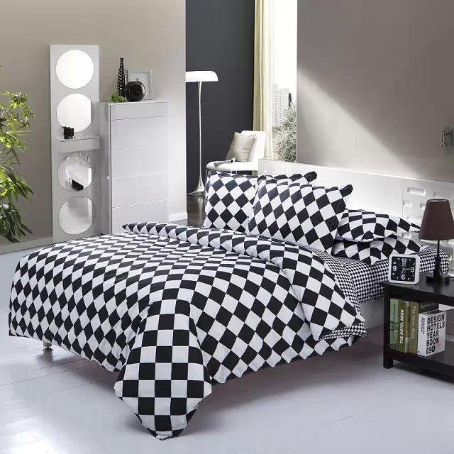 4pcs full twin bedding set comforter set teen bedding - Modern black and white bedding ...