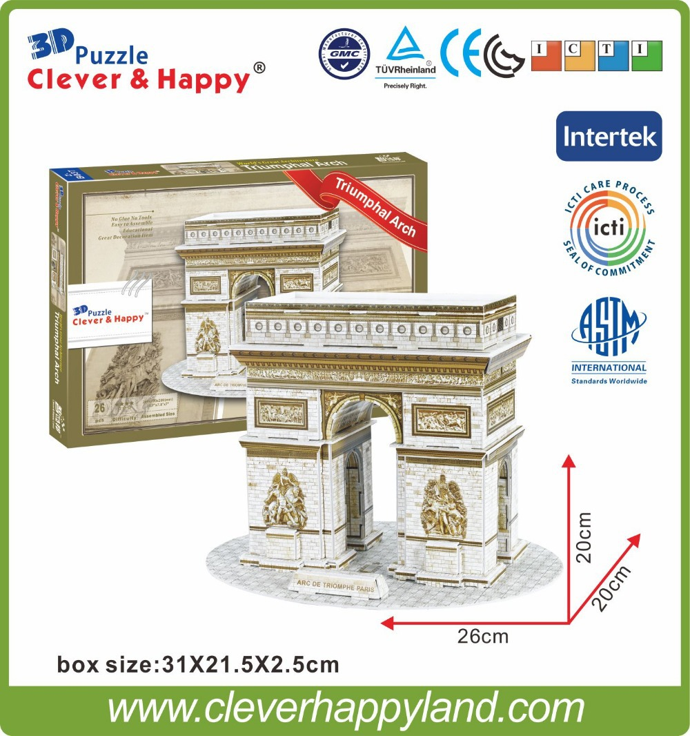 World Famous building 3D Foam puzzle model - Triumphal Arch puzzle(China (Mainland))