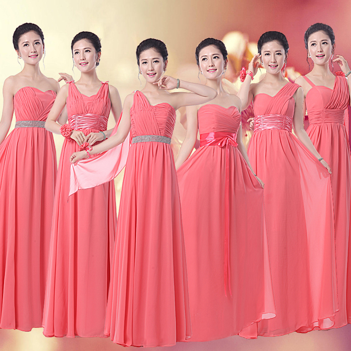 coral bridesmaid dress long chiffon 6 different styles custom made