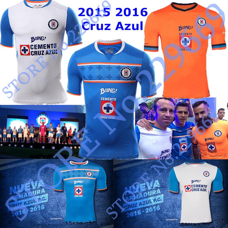 2015 2016 Cruz Azul Soccer Jersey 15 16 Cruz Azul de Mexico Football Jersey 2016 Club Deportivo Cruz Azul Soccer Shirt Top Thai!(China (Mainland))