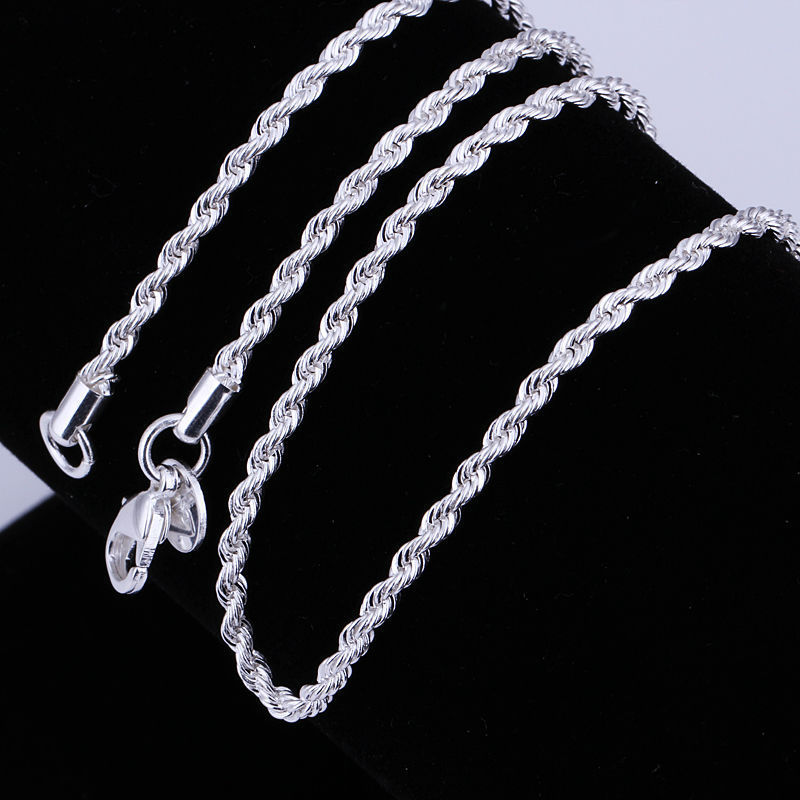 cheap wholesale Top quality Silver Plated twisted rope chain necklace 3MM 16-24 inch fashion jewelry(China (Mainland))