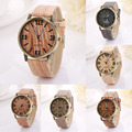 2017 Hot Sale Vintage Wood Grain Watches Fashion Women Quartz Watch Wristwatches Gift Good looking AP