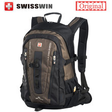 Swisswin Big Fashion Backpack 32L Multi-pocket Daily swissgear wenger Backpack for Women and Men Black Brown with Sternum strap(China (Mainland))