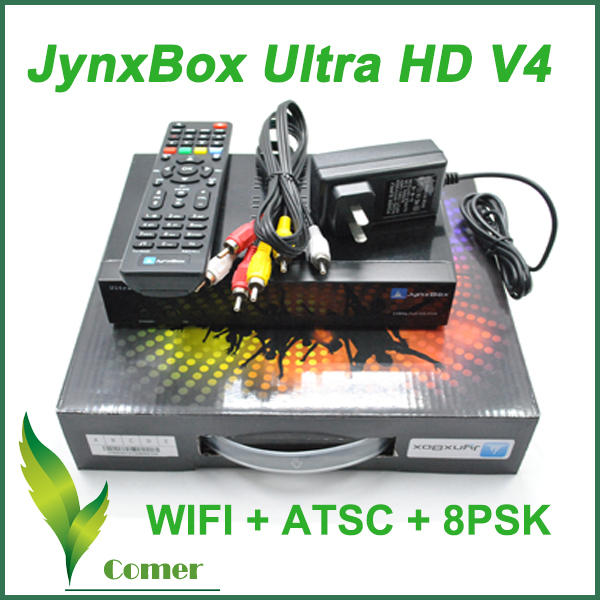 FTA satellite internet receiver Jynxbox ultra hd v4 support ATSC JB200 Tuner WIFI Dongle satellite internet for North America(China (Mainland))