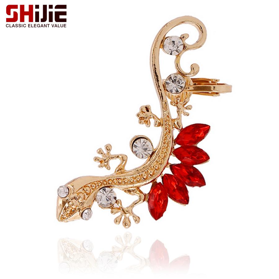 Shijie Korean Crystal Lizard Ear Clip Earrings For Women Cute Gold Color  Pierced Left Earring Fashion
