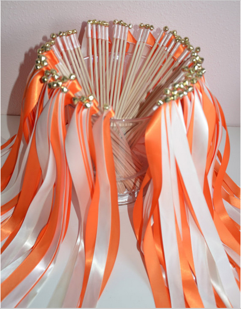 Orange White Wedding Wands Ribbon Fairy Sticks With Bells