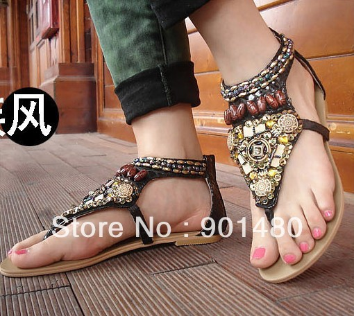- Women's hand Color film beaded shoes Lady Cheap bohemian flat sandals Open-toed store_world888 store