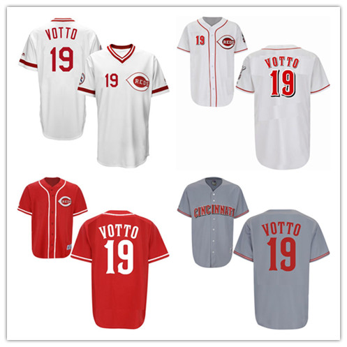 #19 Joey Votto Jerseys 1976 Turn Back the Clock Throwback White Gray Red Jersey Size:S-4XL(China (Mainland))