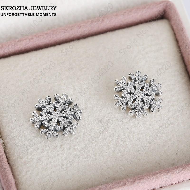 Micro Pave AAA CZ Christmas Snowflake Stud Earrings 925-Sterling-Silver Snowflake Earrings For Women Winter Brand Fine Jewelry<br><br>Aliexpress