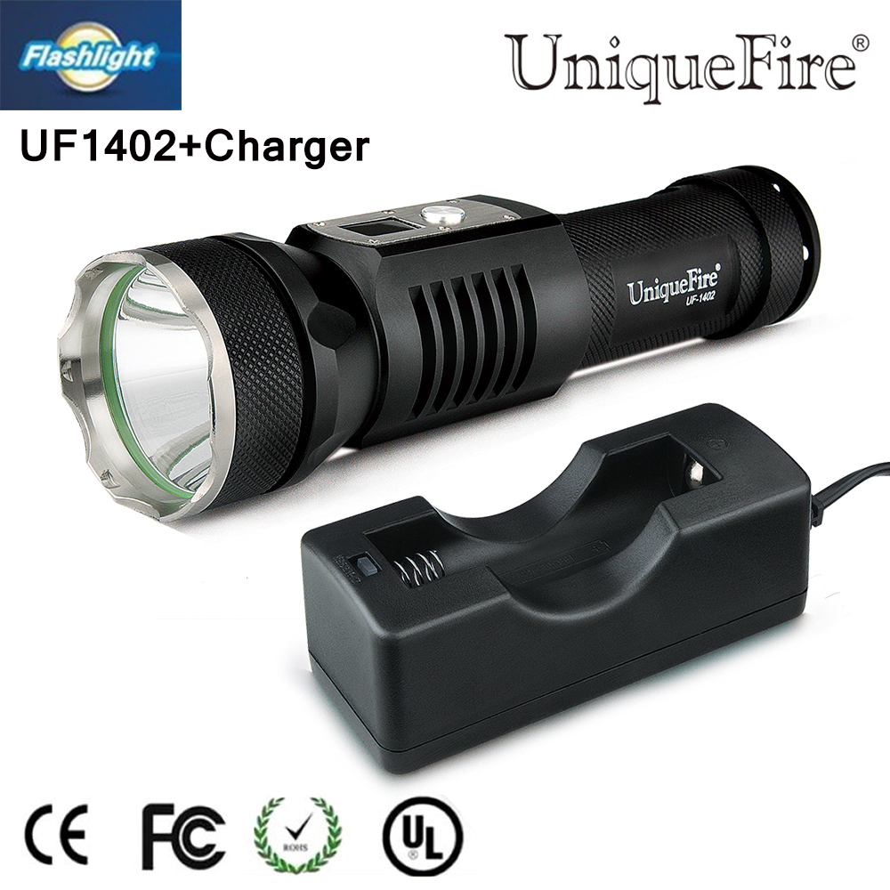 2015 Christmas gift UF1402 XM-L2 LED Mini Flashlight 3Mode 1200 Lumen Torch+Charger Waterproof For Camping Hiking Free shipping