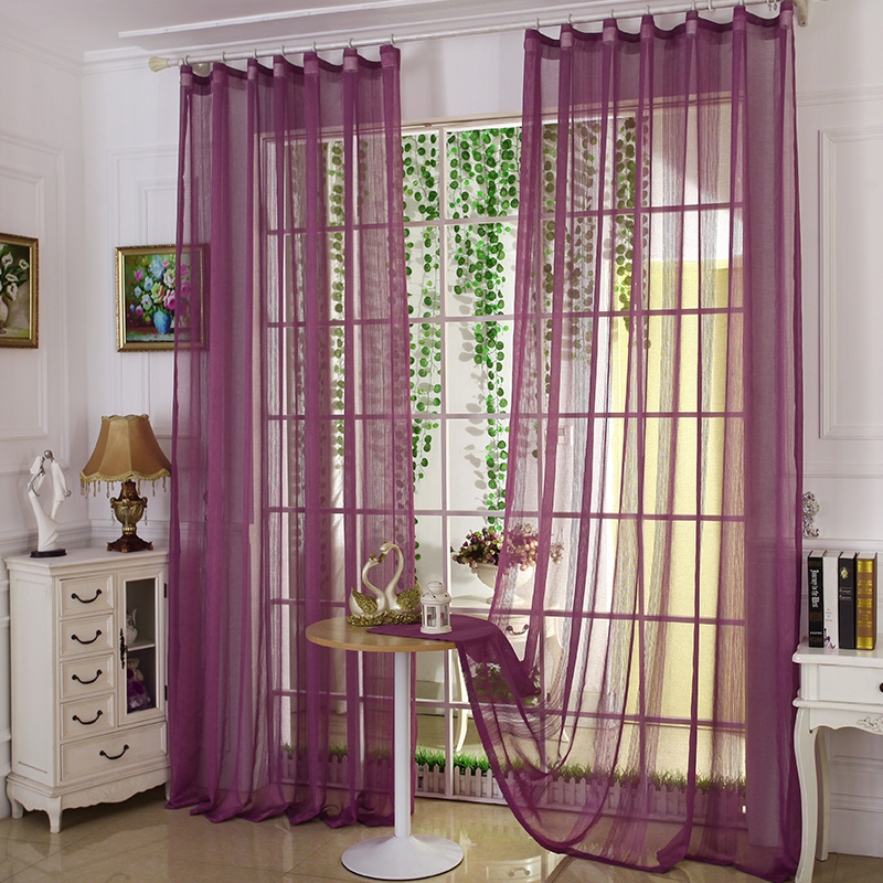2016 New Modern Minimalist 10 Solid Color Striped Tulle Curtains Polyester Hook Semi-Shade Bedroom Living Room Hot sale-A0015(China (Mainland))