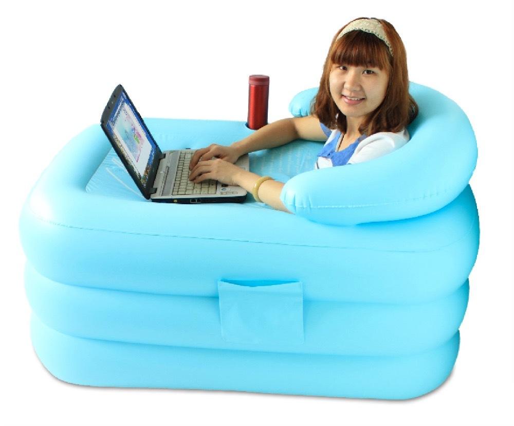 size 115*80*50cm,with pump free shipping Inflatable bathtub thickening adult bathtub folding tub bath basin plastic bath bucket(China (Mainland))