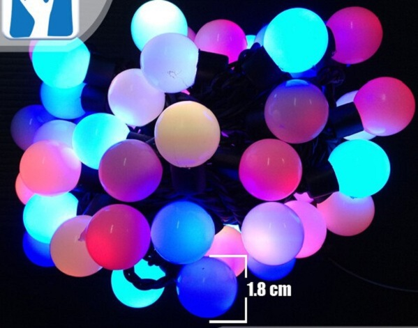 5M 50 Globes Red White Purple Green Blue Yellow Warm White Pink 1.8cm Ball RGB LED String Lights Outdoor(China (Mainland))