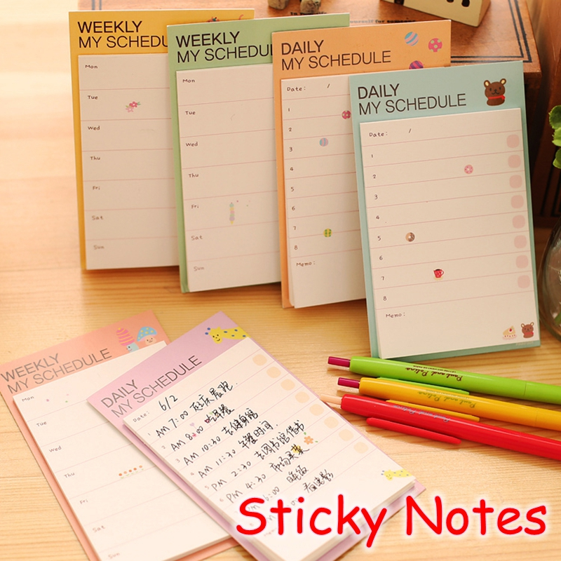 [YOOFUN] (2 Pieces/Lot) Cute Stationery Daily Weekly Planner / Post It Note Pads / Memo Pad / Kawaii Sticky Notes UP-8739(China (Mainland))