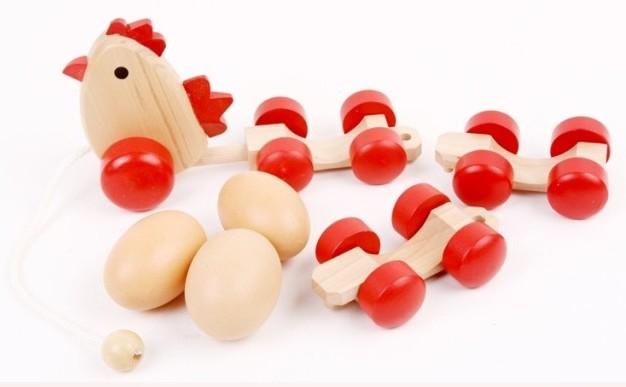 Free shipping, children's educational toys, wooden toys, drag egg chicken egg train, simulation, walking tractor(China (Mainland))