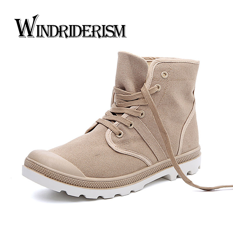Brand Designer Men Boots High Quality Fashion Men Canvas Shoes Flat Heels Lace Up Casual Shoes Spring Autumn Canvas Boots(China (Mainland))
