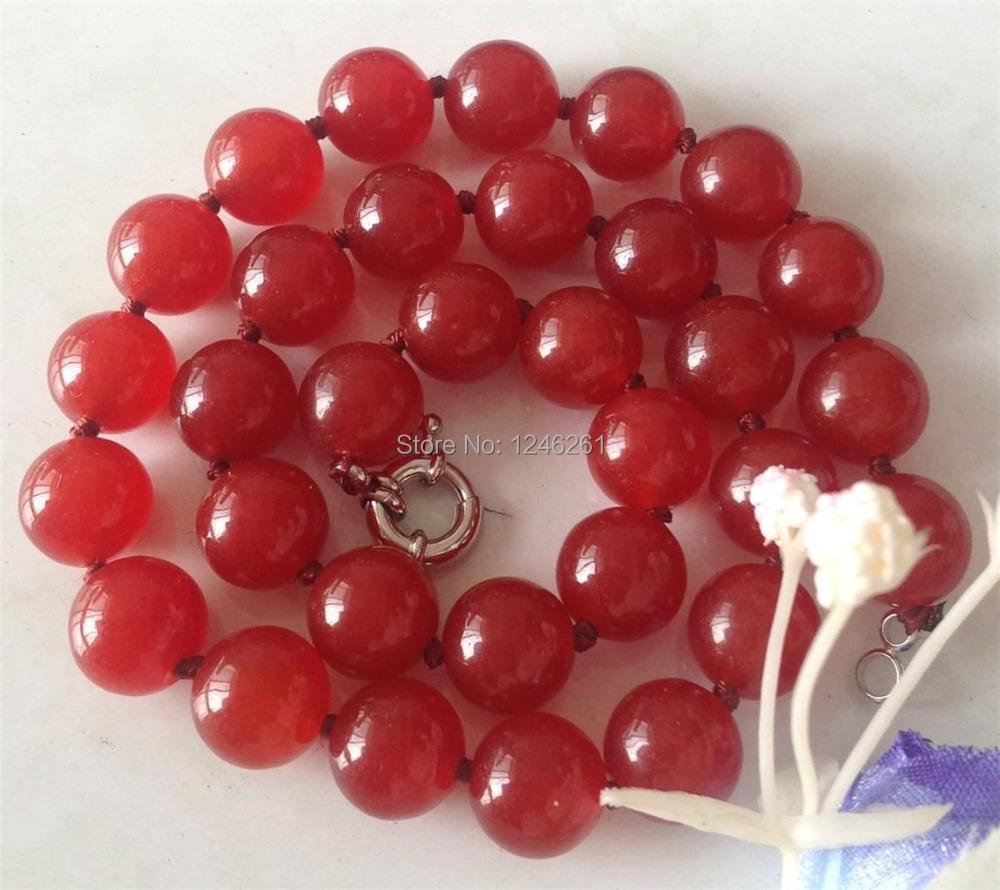 AAA Genuine 12mm Red Jade beads Necklace Hand Made Rope Chain Beads Jasper Jewelry Natural Stone Wholesale (Minimum Order1)(China (Mainland))